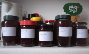 Plum jam labelled and ready to go